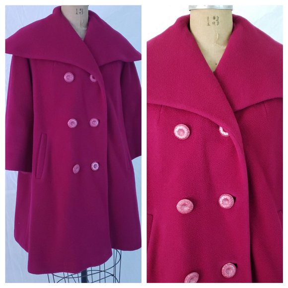 Unknown Vintage Maker Jackets & Blazers - VTG 50s 60s PINK Wool Retro Swing Car COAT Jacket